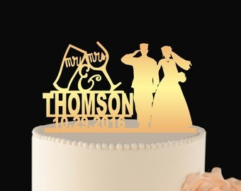 Gold Military Wedding Cake Topper, Gold Wedding Cake Toppers Army, Custom Wedding Topper, Army Wedding Topper Gold Military Topper L2-02-009