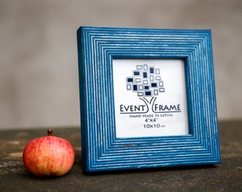 "4x4"" Square Instagram Picture Frame, HandMade Natural Wood Photo Frame, Blue color rustic design"