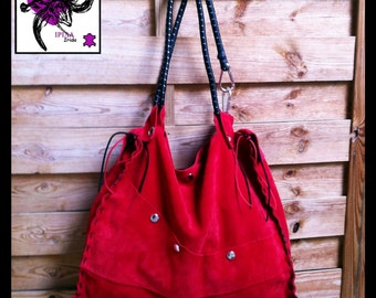 Soft and supple red suede leather tote bag.