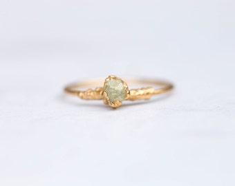 Raw Yellow Diamond Ring, Stackable Raw Diamond Ring, April Birthstone Ring, Raw Diamond Stacking Ring, Electroformed Diamond Ring, Rough