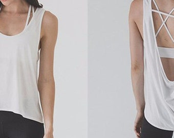 Women's, open back, lightweight, yoga, hi-low, tank top, open back, White or black