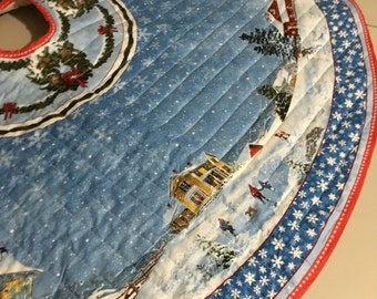 Winter Wonderland Christmas Tree Skirt Quilted Blue