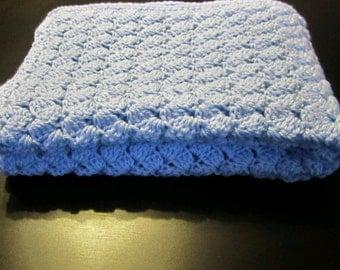 Crochet Baby Blanket/Baby Blanket/Blue Crochet Blanket/Blue Baby Blanket/Receiving Blanket/Crib Blanket/Stroller Blanket