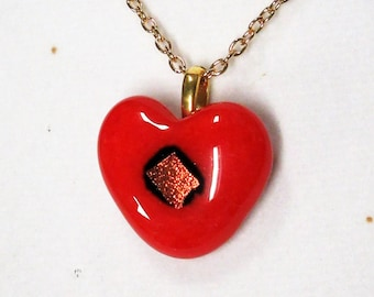 "EH-P152 Pendant, Heart, red with red dichro center, golden 20"" chain"