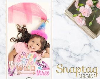 Custom Snapchat Geofilter || birthday, young wild and three, boho chic, feather, third birthday, little girl birthday, bohemian, coachella