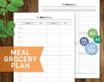 Meal Planner, PRINTABLE Weekly Meal Plan Grocery List Letter Half-Letter A4 A5 size Inserts (#038)