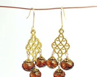 Pretty Burnish Orange Czech Glass Chandelier Earrings
