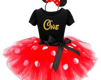Minnie Mouse Birthday Outfit 2 / Minnie Mouse Ears / Birthday Tutu Dress / First Birthday Outfit / Minnie Mouse 1st Birthday Outfit Shirt