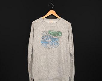 Awesome 80s Waterslides Souvenir Sweatshirt. Vintage Riverside Waterslide Medicine Hat Alberta Heather Grey Crew Neck.