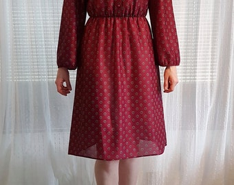 1970s Maroon Dress
