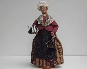 Vintage French Clay figurine baked Santon de Provence woman selling fish signed G.ARGENCE
