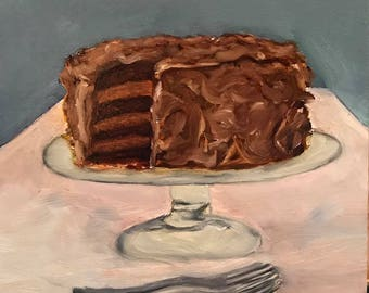 Chocolate Cake Oil Painting