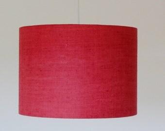 Lampshade red, elegant lampshade, drum lampshade , silk lampshade,  chic lampshade, modern lampshade, red chandelier