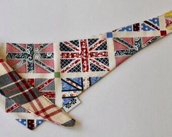 Reversible Union Jack + Plaid Dog Bandana, British Dog Bandana, Dog Scarf, British Bandana, Dog Accessories, Red, White and Blue Bandana