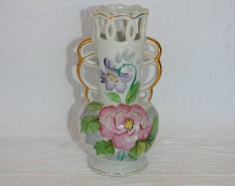 """Occupied Japan Reticulated Hand Painted Floral Vase with Gold Painted """"Handles"""""""