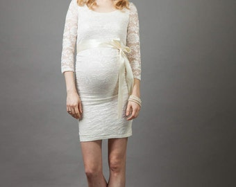 W4Y Little White Maternity wedding dress /W4Y Kleines Weises Brautkleid Für Swchangere