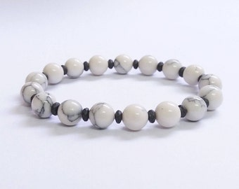 Natural White Howlite 8mm Beads And Hematite Beads Bracelet, Howlite Bracelet, Mens Bracelet, Womens Beaded Bracelet, Stretch Bracelet