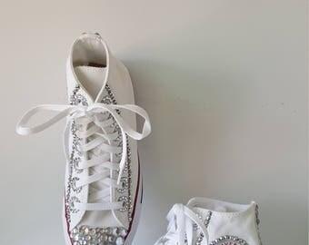 Rhinestone Converse White Chuck Taylor Custom Pagaent Dance Wedding Shoes
