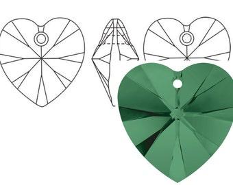 Swarovski 6228 Crystal Heart Pendant 14mm Emerald 2PC 6PC