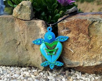 Sea green and blue Fimo quilling steampunk turtle necklace