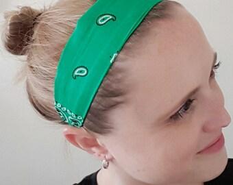 Green headband, upcycled bandana, rockabilly headband, head scarf, pinup accessories, adult headband, 50s inspired, bandana headband