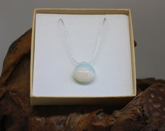 Opalite Teardrop Pendant Necklace, Sterling Silver