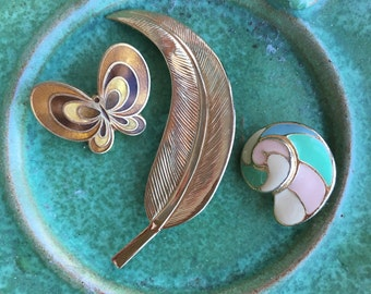 butterfly | feather | shell | brooches