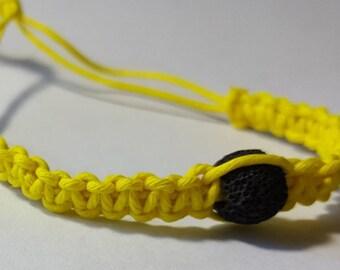 Yellow Hemp Diffuser Bracelet, Adjustable Hemp Bracelet, Aromatherapy Bracelet, Spiral Hemp Bracelet, Braided Bracelet, Lava Stone Bracelet
