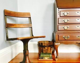 Vintage Industrial Mill Factory School Desk Pedistal Chair