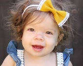 Pom Pom Bow - Baby Headband - Baby Bows - Soft Bows - Photo Props - Headbands or Clip - Infant and Toddler - Newborn - Baby Girl