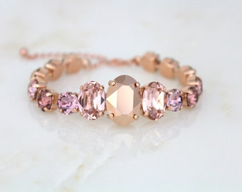 Rose Gold Bracelet, Bridal bracelet, Wedding jewelry, Blush bracelet, Crystal bracelet, Blush crystal, Cuff bracelet, Bridesmaid bracelet