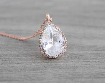 Rose gold Bridal necklace, Wedding jewelry, Wedding necklace, Swarovski necklace, Teardrop necklace, Bridesmaid necklace, Simple necklace