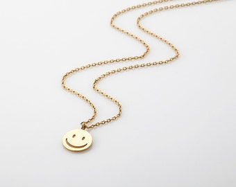 Smiley gift etsy gold smiley necklace dainty happy face disc necklace rose gold smiley face pendant aloadofball Image collections