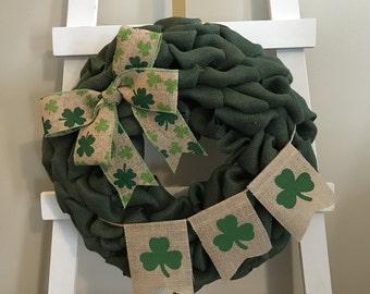 St Patrick's Day Wreath, Green Wreath, Shamrock Wreath, Irish Wreath, Holiday Wreath, Front Door Wreath, Burlap Wreath