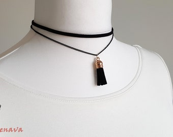 Choker necklace collar multi black gold