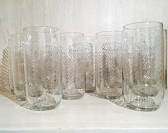 Vintage Libbey Swirl Optic 16 oz. Tumbler Glasses (Set of 11)