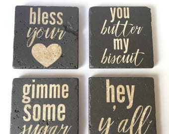 Southern Charm Coasters/Southern Sayings/Set of 4 Coasters/Cork Backed