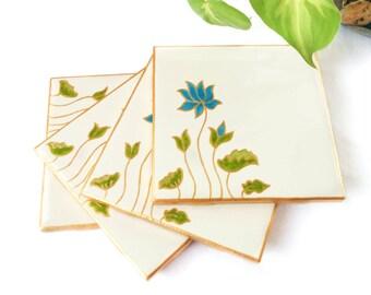 YOGA GIFTS, TILE Coasters, flower coaster, Floral coaster, Bohemian coaster, Ceramic coaster, Water lily, Yoga coaster, Lotus, Spiritual