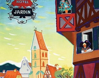 Vintage Alsace France Tourism Poster A3 Print