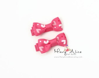 """Valentine's Day Baby Hair Bow Set of 2- 1.75"""" Girls Hair Bow, Toddler Hair Bow, No Slip Alligator Clip for Baby Girl- Made to Order"""