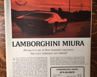 Lamborghini MIURA Road Test article from May 1968 Road & Track magazine