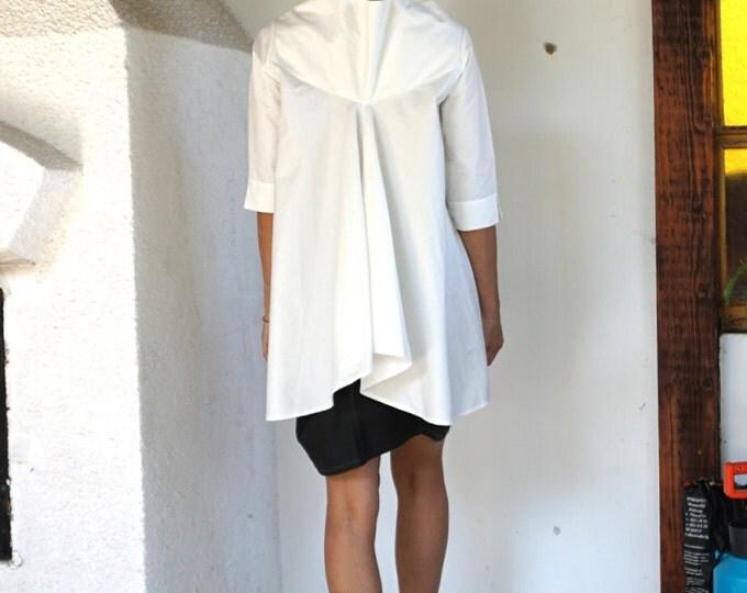 White Extravagant Loose shirt / Cotton shirt / Sexy Elegant Tunic / Extravagant Tunic / Oversized Elegant Tunic