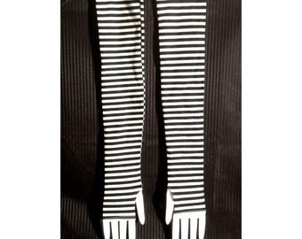 Long ARMWARMERS - Pair - Black & White Stripes