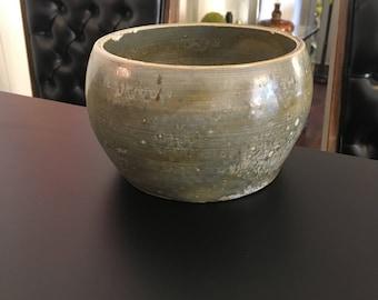 Midcentury Studio Pottery Planter/Vase in Gray/Green