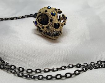 3D Printed Domestic Cat // Kitten Skull Pendant Necklace