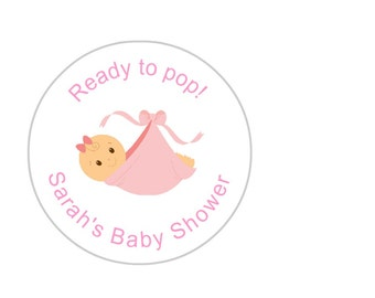 Personalised Baby Shower stickers - Baby Girl. Sets of 24, 36 & 48.