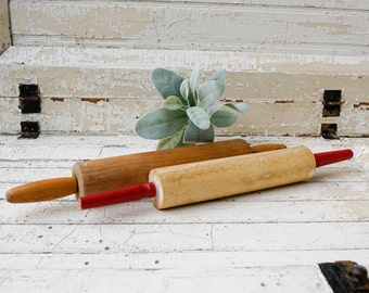 Pair of vintage rolling pins for your farmhouse french country kitchen decor