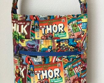 Comic superhero cosplay cross-body/messenger handbag with 2 zippers, 4 pockets, adjustable strap spiderman hulk thor captain america ironman