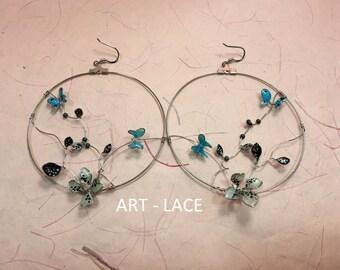 Large hoop earrings Blue Black Dangle Drop earrings for women wire earrings resin flower butterfly ivy jewelry Hippie Handmade Chandelier