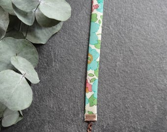 Bracelet, cuff Liberty London Betsy D, flowers, turquoise blue, green and pink